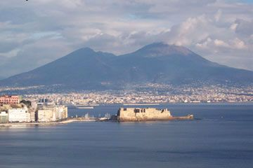 Campania - Naples, the capital of Campania with Mount Vesuvius