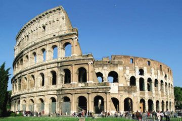 Latium - The Colosseum in Rome - the largest amphitheatre in the world