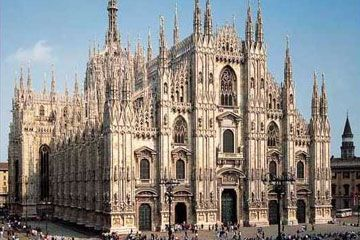 Lombardy - Milan Cathedral - with the golden Madonna statue,  symbol of Milan