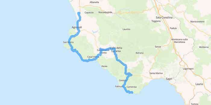 The scenic drive along the stunning coast of Cilento - Mappa