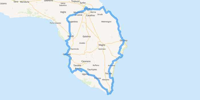 Salento, the heel of Italy, the beautiful area in Puglia - Mappa
