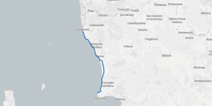 Tuscany's scenic drives: the picturesque Etruscan Coast - Mappa