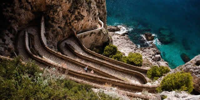 Italy scenic roads: Augustus Gardens and Via Krupp in Capri