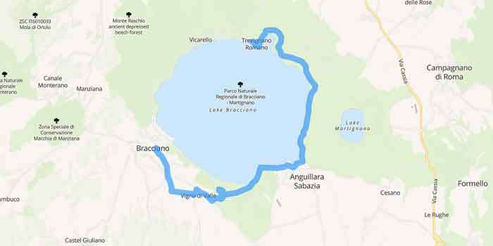 The Medieval villages around Lake Bracciano near Rome - Mappa