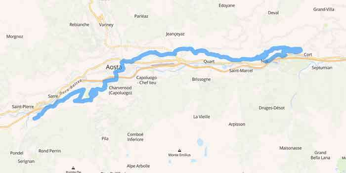 The wine road of Mount Emilius in Aosta Valley - Mappa