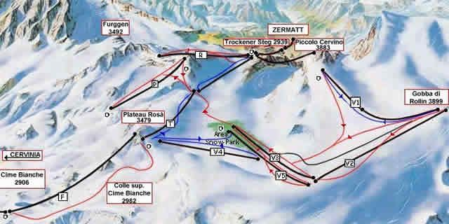 Summer ski resorts in Italy Cervinia and the Plateau Rosa