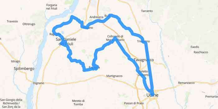 The scenic drive of the Castles and the San Daniele Ham - Mappa
