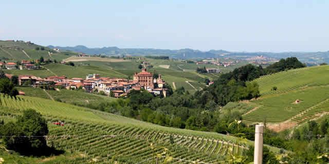 The scenic wine road from Alba to Barolo in Piedmont