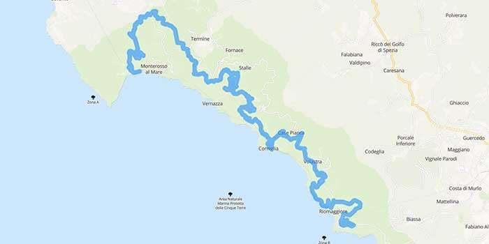 The scenic Road of the Sanctuaries, Cinque Terre in Liguria - Mappa