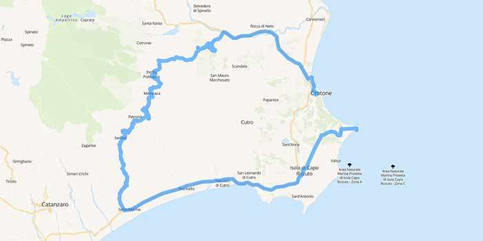 Visiting Calabria, from Crotone, Valli Cupe to Capo Colonna - Mappa