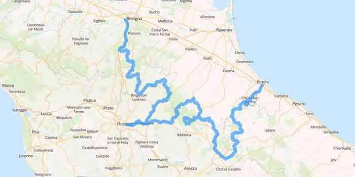 Thrilling tour ride in the Apennines between Tuscany-Romagna - Mappa