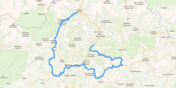 Motorcycle tour in South Tyrol crossing eight amazing passes - Mappa